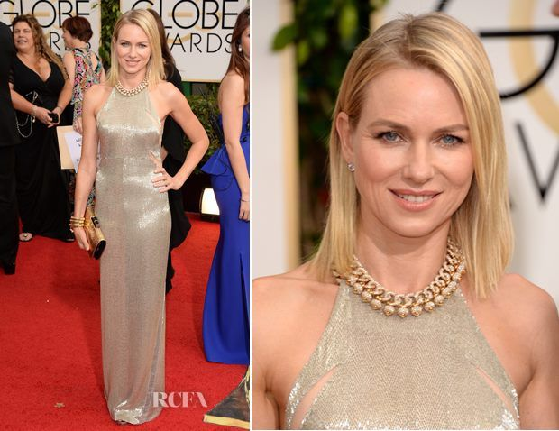Naomi Watts in a Tom Ford dress and Jimmy Choo shoes with a Bulgari bag and jewelry.
